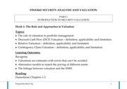 wk 1 - Role and Approaches to Valuation