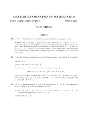 Abstract Algebra Exam Study Guide Spring 2010