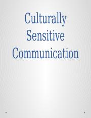 Lecture 18 ADDITIONAL - Culturally Sensitive Communication - Fall 2016-2
