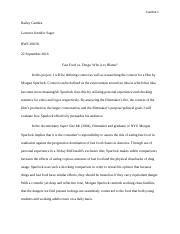 supersize me essay who to blame morgan  5 pages project one rough draft