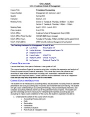 Syllabus for Principles of Accounting 1A - Spring 2013 - Revised