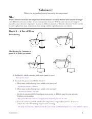Calorimetry POGIL.pdf - Calorimetry What is the ...