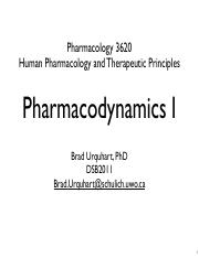 Topic 6 - Pharmacodynamics I