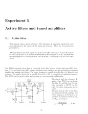 Experiment 5 Active Filters And Tuned Amplifiers Lab