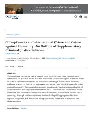 Corruption as an International Crime and Crime against Humanity _ Journal of International Criminal