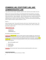 3rd Lecture - Common Law Statutory Law Admin Law and Constitutional Law.docx