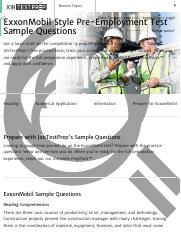 Free ExxonMobil Pre-Employment Test Sample Questions