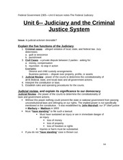 Federal Government Class Notes Unit6