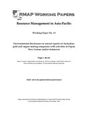 Environmental disclosures in annual reports of Australian gold and copper mining companies with acti