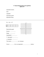 Exponential Functions and Logs Study Guide