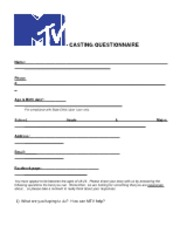 MTV Pace Casting Sheet