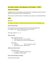 STAT 241 lecture notes on Descriptive Statistics