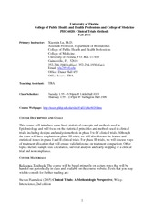 Syllabus for PHC 6020 - Clinical Trials Methods