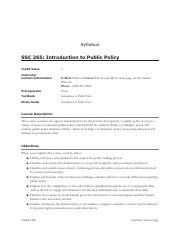SSC 265- Introduction to Public Policy
