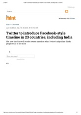 Twitter to introduce Facebook-style timeline in 23 countries, including India - Livemint