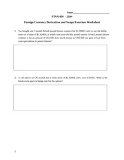 FINA450-Q1WW Foreign Currency Derivatives and Swaps Exercises TALB01