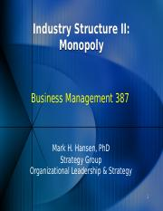 Industry Structure II Monopoly 15