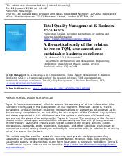16  - A theoretical study of the relation between TQM, assessment and sustainable business excellenc