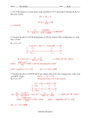 Exam 2 Solution Spring 2014 on General Chemistry