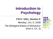 Lecture 5. Biological Bases of Behaviour (IIa)