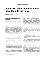 Small Firm Environmental Ethics