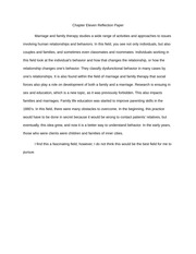 Chapter Eleven (Family and Marriage Therapy) Reflection Paper