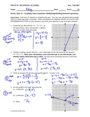 Sample Quiz 3 Answer Key Solution on Beginning Algebra