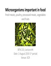 Microorganisms important in food fresh meat processed meats and fish and vegetables  lecture 4 17081