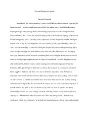 Communications Personal Experience Speech .docx