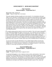 ASSIGNMENT 3 - Research Report - all parts