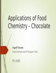 Applications of Food Chemistry-- Chocolate Fall 2016-2.ppt