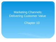Chapter 10 Marketing Channels