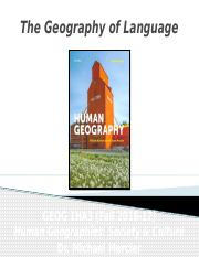 GEOG 1HA3 - Fall 2016 - Lecture 10 - Culture II - The Geography of Language - student-A2L