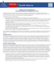 article_Kaiser Family Foundation - Summary of Coverage Provisions in the PPACA short.pdf