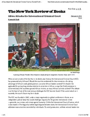 Africa Attacks the International Criminal Court by Kenneth Roth  The New York Review of Books