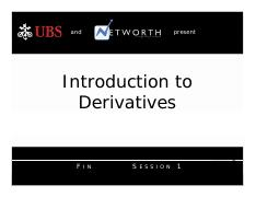 3 - Introduction to Derivatives