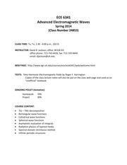 Syllabus on Advanced Electromagnetic Waves