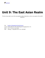 Unit 9-The East Asian Realm