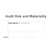 Audit Risk and Materiality