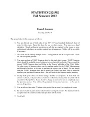 Stat 212 Fall Semester 2013 Exam I Answers