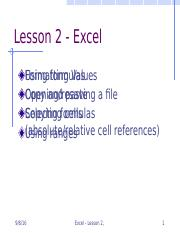 PPT - Excel Lesson 2