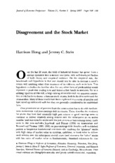HongStein2007 - Disagreement and the Stock Market