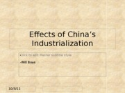 Effects of China's Industrialization