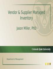 Vendor and Supplier Managed Inventory