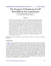 The Prospects of Replacing GAAP with IFRS in US