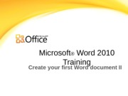 Training Presentation - Create your first Word document II