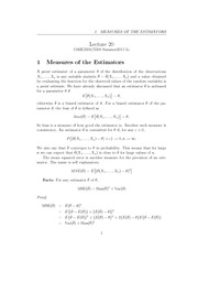 Lecture 20 - Measures of the Estimators