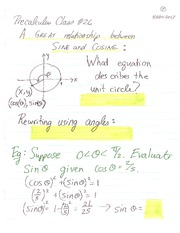 MATH 105 Fall 2013 Sine and Cosine Lecture Notes