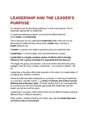 leadership and the leader's purpose