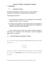 Lecture 10 Notes, Hypothesis Testing
